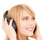Happy girl with headphones — Stock Photo