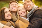 Grupo de amigos se divertindo no parque outono — Fotografia Stock