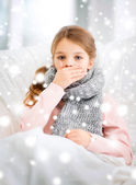 Ill girl with flu at home — Stock Photo