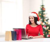 Žena s nákupní tašky a přenosný počítač — Stock fotografie