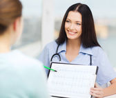 Female doctor or nurse showing cardiogram — Stock Photo