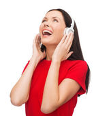 Laughing woman with headphones — Stock Photo