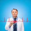 Smiling doctor or professor with stethoscope — Stock Photo