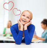 Happy woman dreaming and laughing — Stock Photo