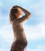 Silhouette picture of pregnant beautiful woman — Stock Photo