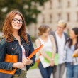 Female student in eyglasses with folders — Stock Photo #36730485