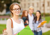 Female student in eyglasses with folders — Stock Photo