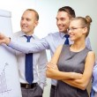 Foto Stock: Business team with flip board having discussion