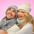 Stock Photo: Romantic couple in winter clothes