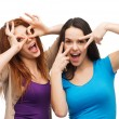 Two young teenagers making faces — Stock Photo