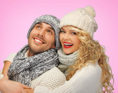 Romantic couple in winter clothes — 图库照片