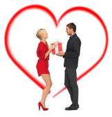 Romantic couple with gift box — Foto Stock
