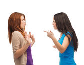 Two teenagers having a fight — Stock Photo