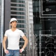 Handsome builder in white helmet — Stock Photo