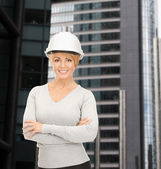 Female contractor in helmet — Stock Photo