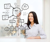 Smiling woman writing on virtual screen — Stock Photo