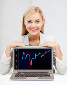 Smiling woman with laptop and forex chart — Stock fotografie