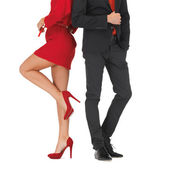 Man in suit and woman in red dress — Stock Photo