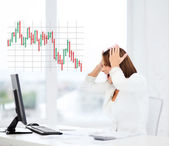 Stressed woman with computer — Stock Photo