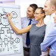 Business team with plan on flip board — Stock Photo