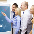 Business team with forex chart on flip board — Stock Photo