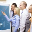 Business team with forex chart on flip board — Stock Photo #37404885