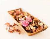 Closeup of pot-pourri in wooden bowl — Stock Photo