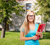 Smiling student in eyeglasses with folders — Stock Photo