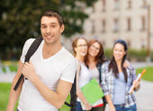 Travelling student with backpack — Stock Photo