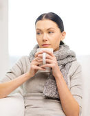 Ill woman with flu at home — Stock Photo