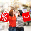 Two smiling teenage girl with shopping bags — Stock Photo #39013535