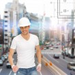 Handsome builder in helmet — Stock Photo