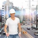 Handsome builder in helmet — Stock Photo