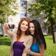 Stock Photo: Two smiling teenagers with smartphone