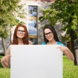 Stock Photo: Two smiling girls with eyeglasses and blank board