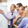 Business team with flip board having discussion — Stock Photo #39275017