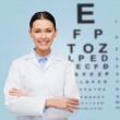 Smiling female doctor with eye chart — Stock Photo #39328463