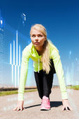 Concentrated woman doing running outdoors — Stock Photo