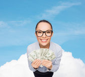 Smiling businesswoman with dollar cash money — Foto de Stock
