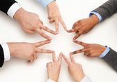 Group of businesspeople showing v-sign — Stok fotoğraf