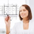 Female architect drawing blueprint — Foto Stock