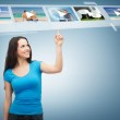 Smiling teenager pointing her finger videos — Stock Photo