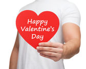 Heart with happy valentines day message — Stock Photo