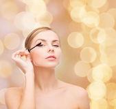 Krásná žena s řasenka — Stock fotografie
