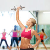 Woman lifting steel dumbbell — Foto Stock