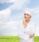 微笑女厨师手指对什么东西过敏 — Stockfoto