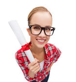 Smiling woman in black eyeglasses with diploma — Stock Photo