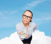 Smiling businesswoman with dollar cash money — Stock Photo