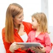 Happy mother and daughter with tablet pc computer — Stock Photo #40561749