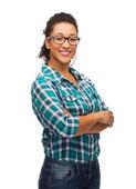 Smiling african american girl in eyeglasses — Stock Photo